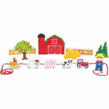 Houten boerderij speelgoed set