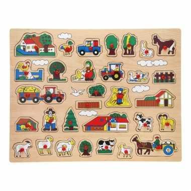 Houten knopjes/noppen puzzel boerderij thema speelgoed