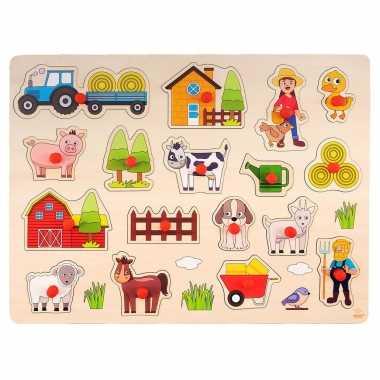 Houten knopjes/noppen speelgoed puzzel boerderij thema