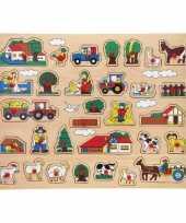 Houten knopjes noppen puzzel boerderij thema speelgoed