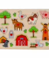Houten knopjes noppen speelgoed puzzel boerderij thema 10239337