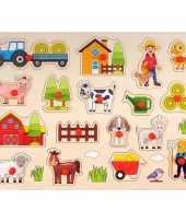Houten knopjes noppen speelgoed puzzel boerderij thema